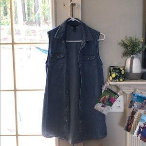 Forever 21 denim vest with pearl snaps